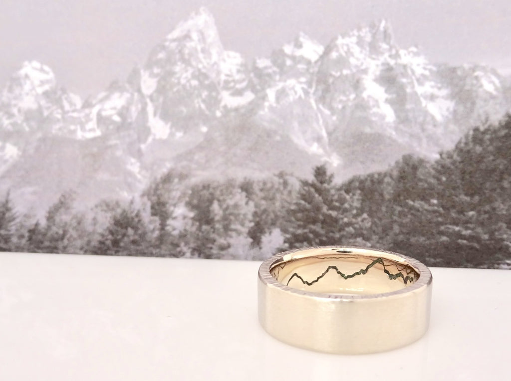 Teton inspired 14k Yellow Gold Hidden Gemstone Mountain Ring with Green Onyx.