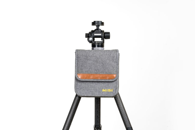 camera-filters-NiSi-Ireland-150mm-Starter-ii-Filter-Kit-second-gen-filter-pouch-bag-attached-to-tripod