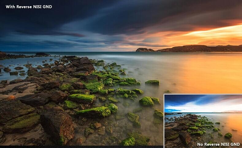 camera-filters-NiSi-Ireland-3-Stop-Reverse-Grad-0-9-R-GND8-graduated-neutral-density-filter-100x150mm-with-without-filter