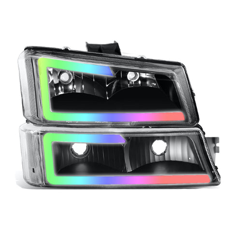 Chevrolet Silverado (Cateye; 03-07) Custom Headlights NeoPrism Chasing LED C-DRL