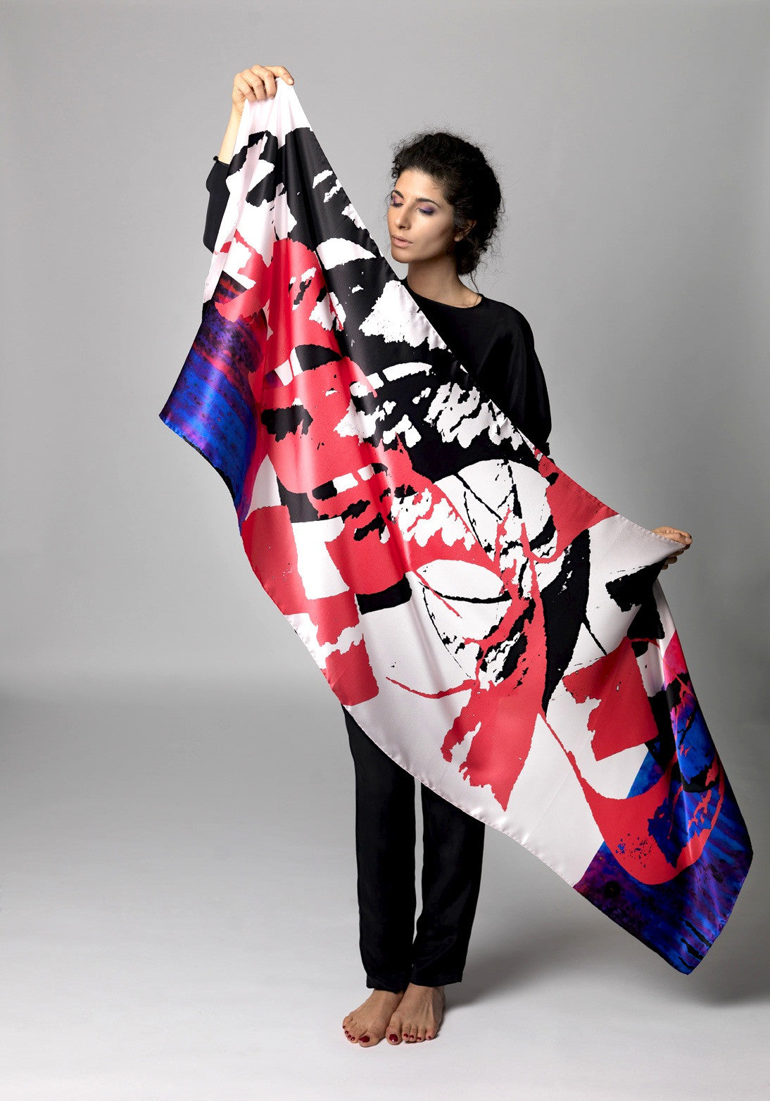 Nahara Graffiti Love Scarf on model
