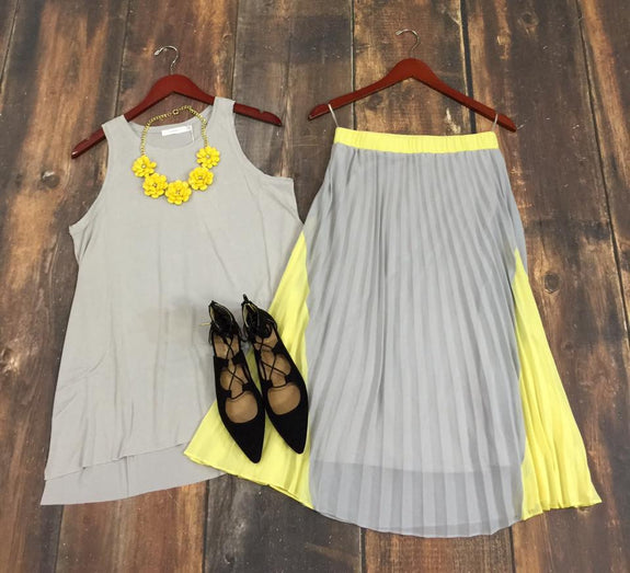 Grey/Yellow Pleated Skirt - MOD Boutique