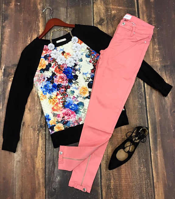 Pink Ankle Button/Zip Skinny Pant - MOD Boutique