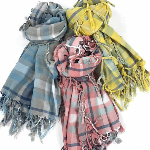 Spring plaid fringe blanket scarves