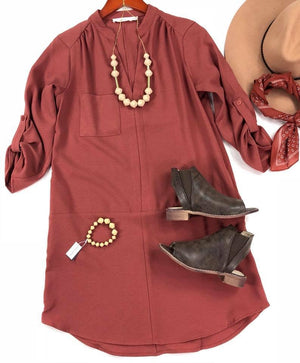 Lush Tab Slv Woven Seam Dress-Marsala -(Final Sale)