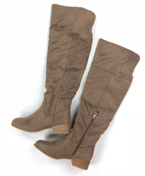 The Ainsley Over The Knee Boot-Taupe -(Final Sale)