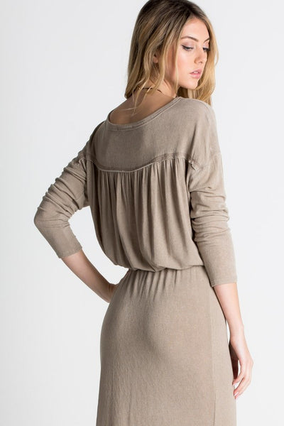 Tied/cinch waist long sleeve knit dress