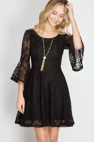 Bell Sleeve Fit n Flare Lace Dress (2 Colors)