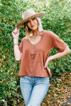 The Jonna Babydoll Top - Rust