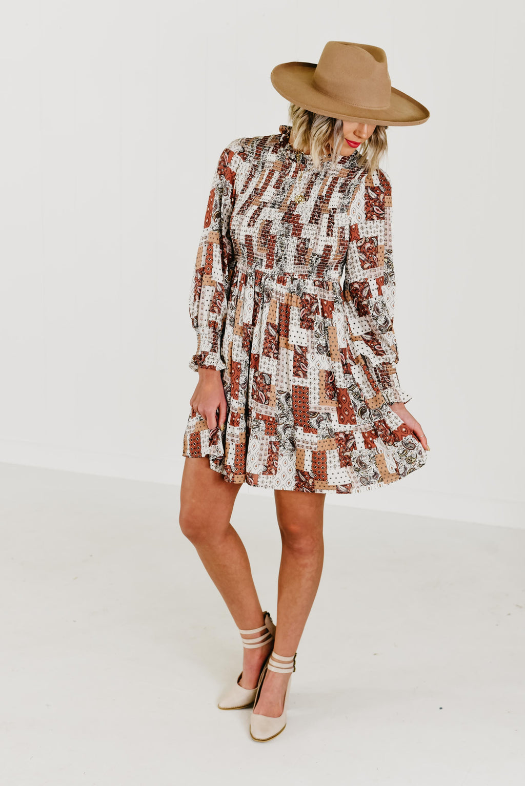 The Savannah Smocked Patchwork Dress - Multi