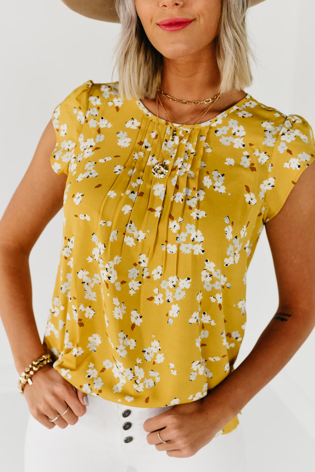 (MOD Exclusive) The Phoenix Pintuck Tulip Sleeve Top - Mustard