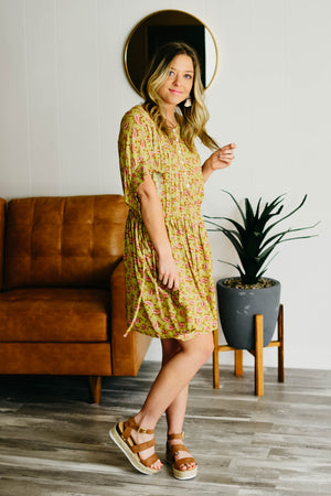 The Vera Dress - Green Mustard