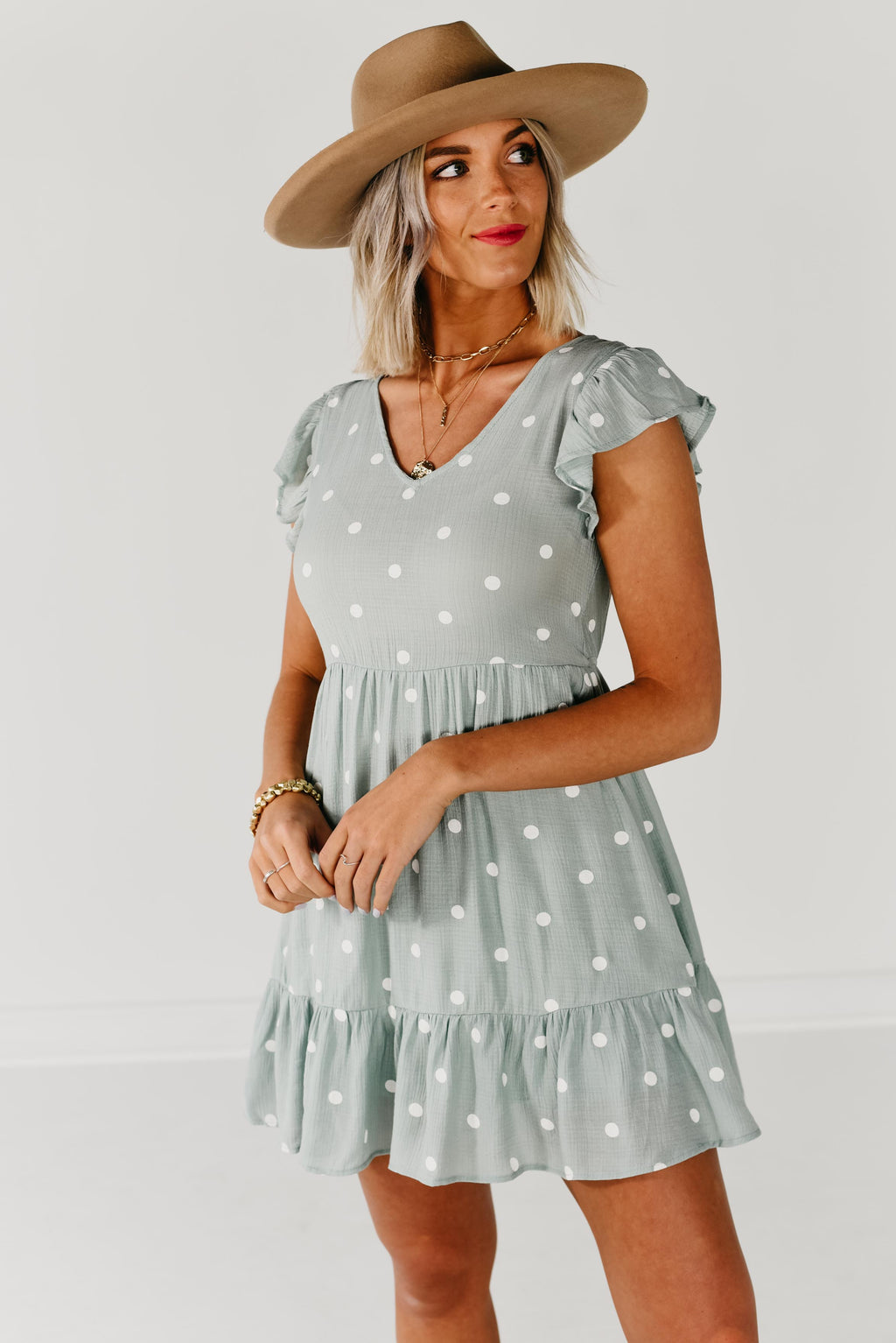 The Kathy Dot Dress - Sage