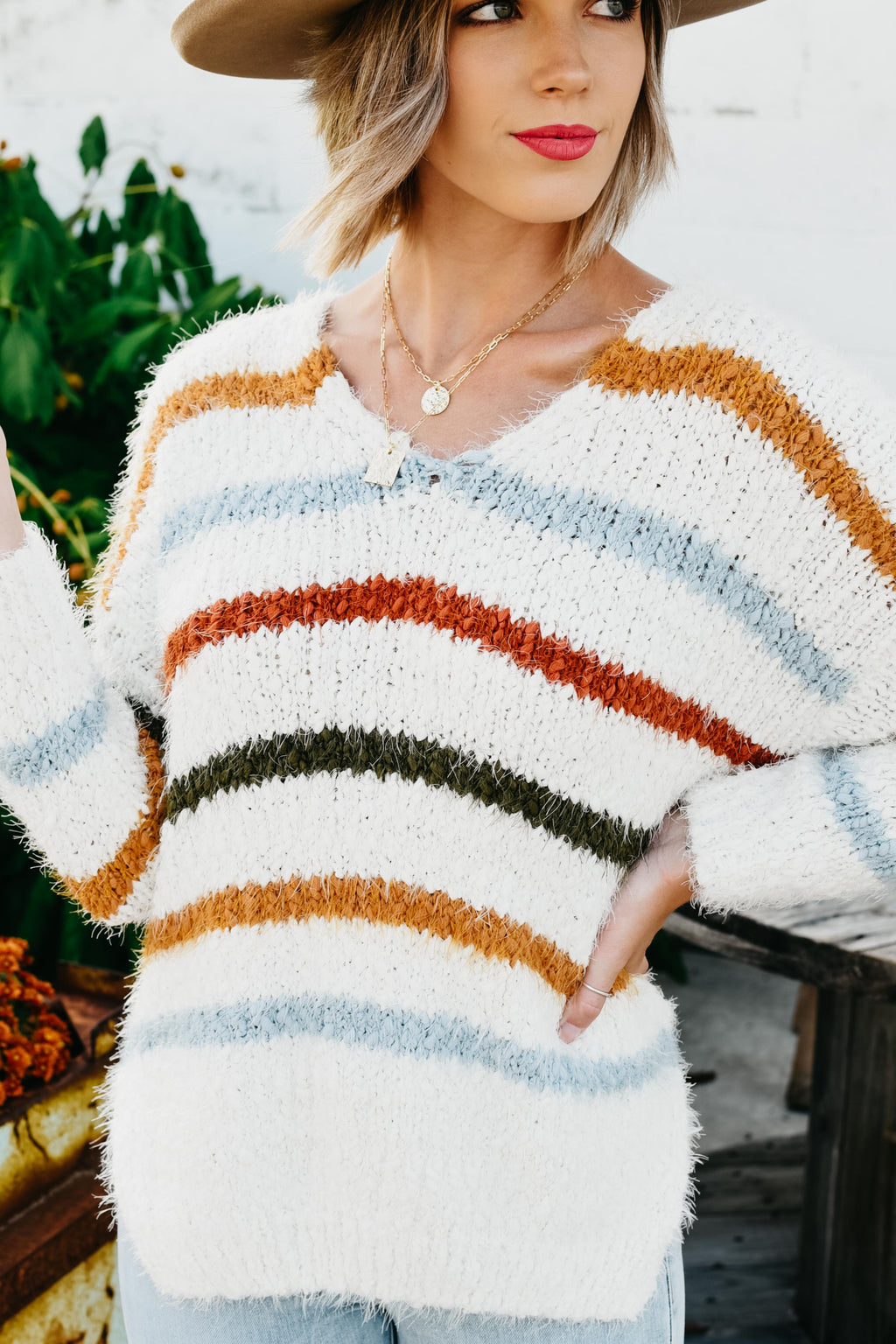 The Penny Stripe Knit Sweater - Ivory/Multi