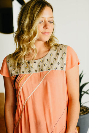 The Aubrey Stripe Top - Coral