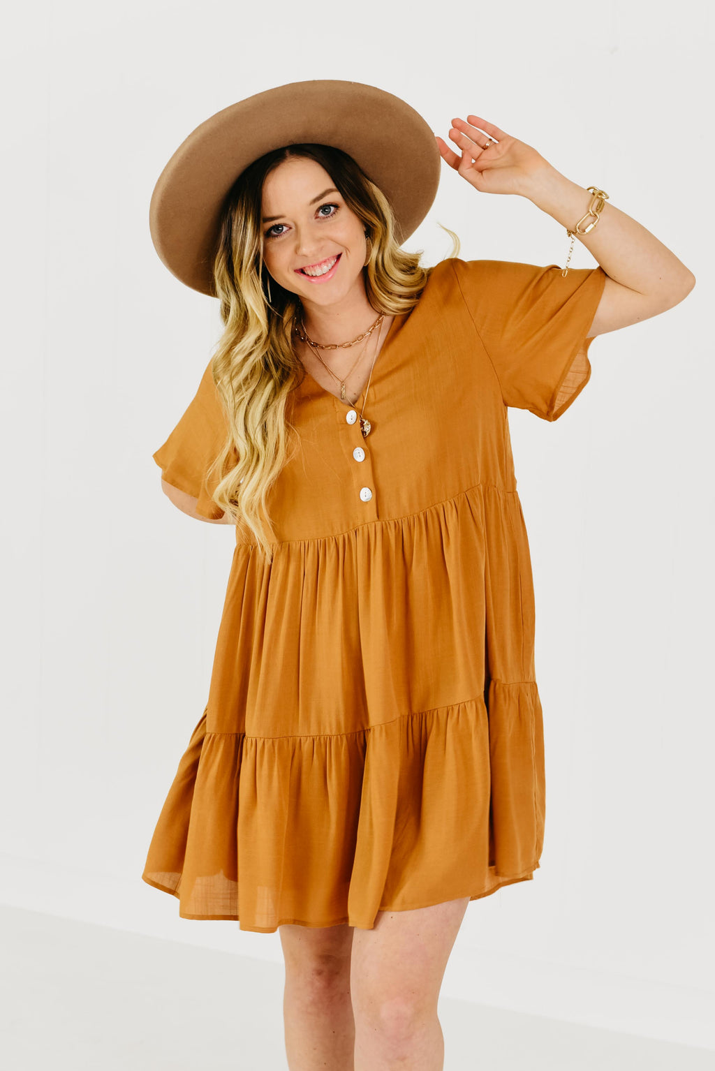 The Rianna Tiered Dress - Amber