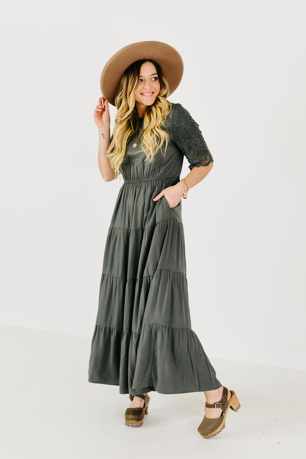 The Tessa Tiered Dress - Jade