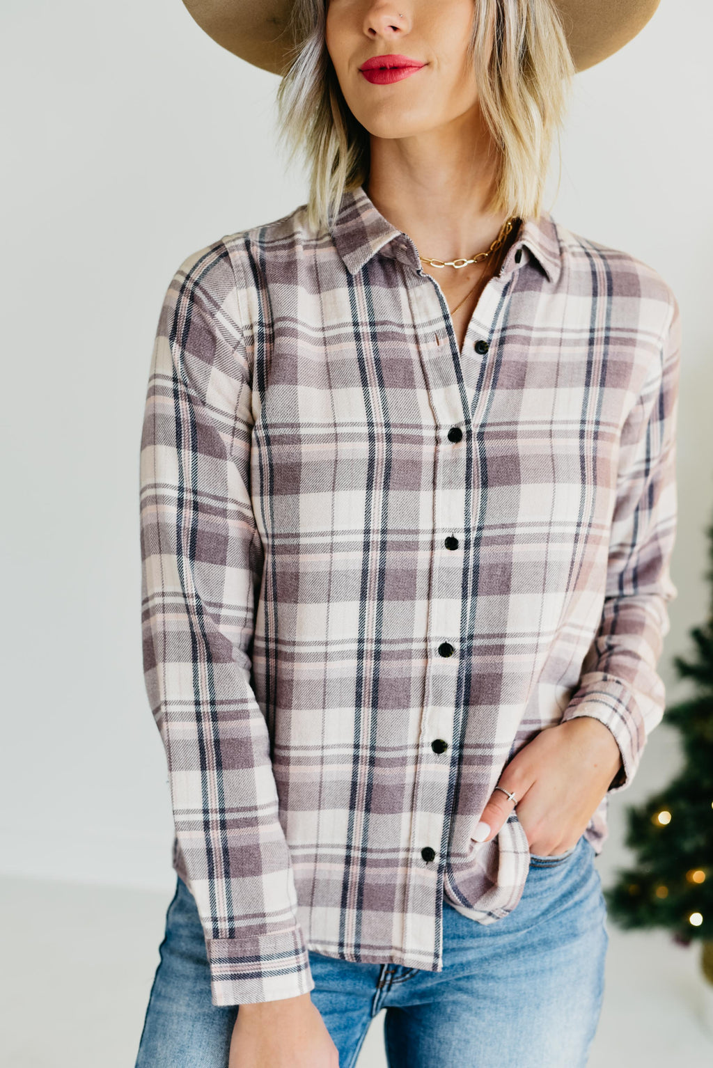 T&S || The Valley Plaid Top - Plum Multi