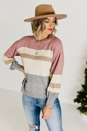 The Lennox Block Sweater - Pink Combo