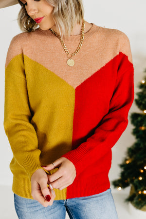 The Wanda Block Sweater - Tomato Mix
