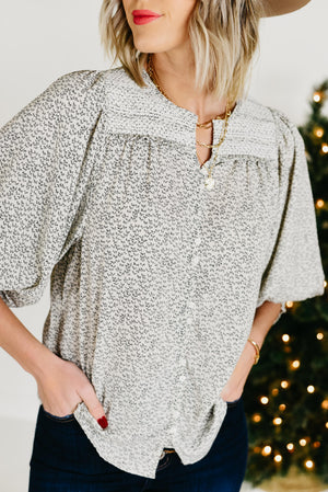 The Lilly Novelty Smock Top - Ivory