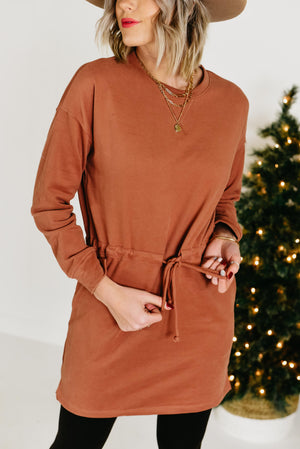 The Jessie Drawstring Knit Dress - Sienna