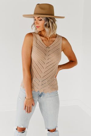 The Adela Striped Tape Trim Top - Navy