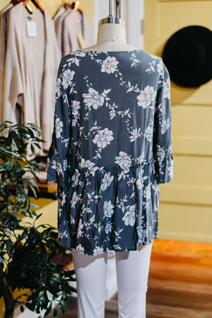 MMD || The Denver Floral Top - Grey