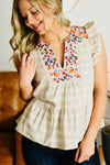 The Zayn Peplum Top - Beige