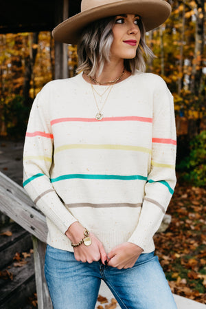 The Bindi Stripe Fetti Sweater - Off White