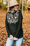 The Reese Embroidered Sweater - Dark Green