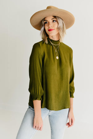 The Gregory Smock Neck Top - Olive