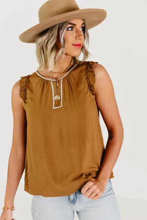 (MOD Exclusive) The Stella Woven Embroidered Top - Camel