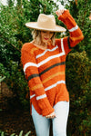 The Eva Popcorn Stripe Sweater - Rust