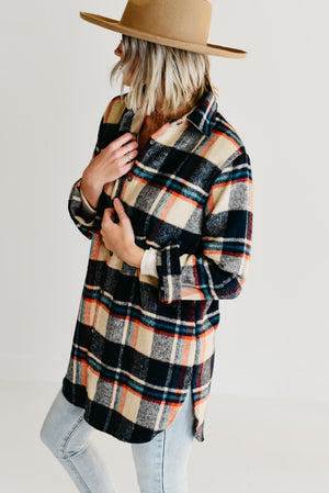 The Auburn Flannel Shirt Tunic - Navy/Taupe (S-3XL)
