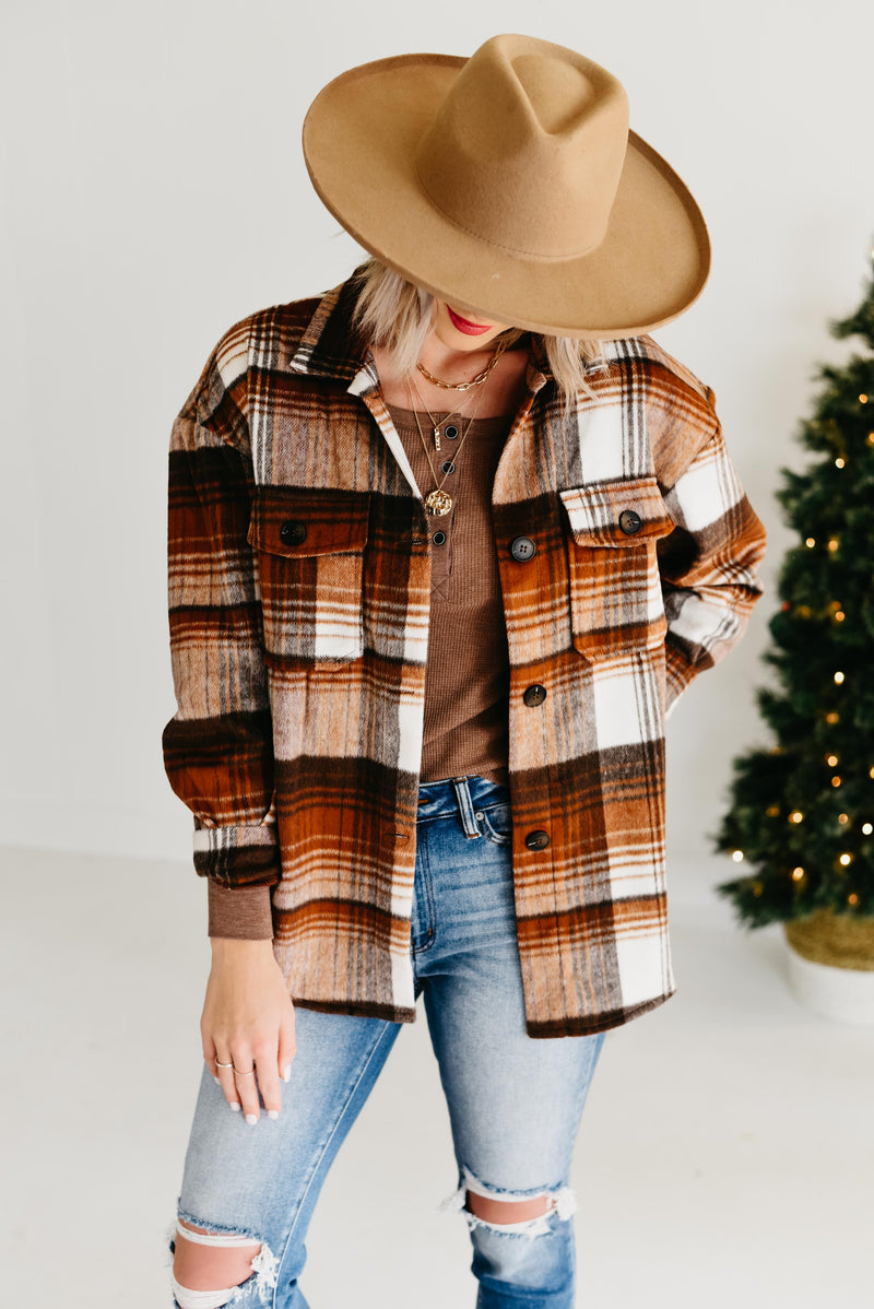 The Glenna Plaid Jacket - Brown Multi