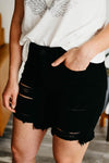 Kan Can Distressed Shorts - KC7280BK