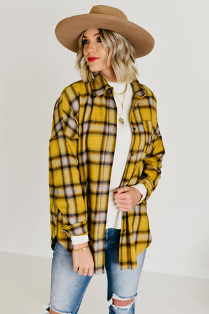 The Coletta Plaid Top - Mustard