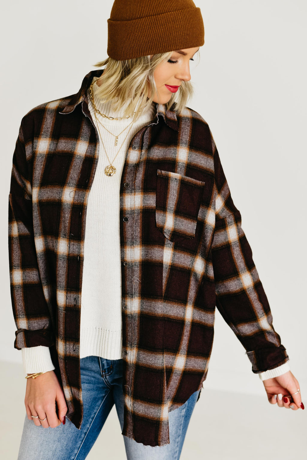 The Coletta Plaid Top - Brown
