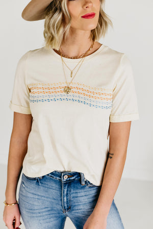 The Ripley Embroidered Tee - Taupe