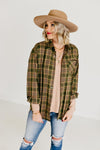 The Courtney Plaid Top - Olive