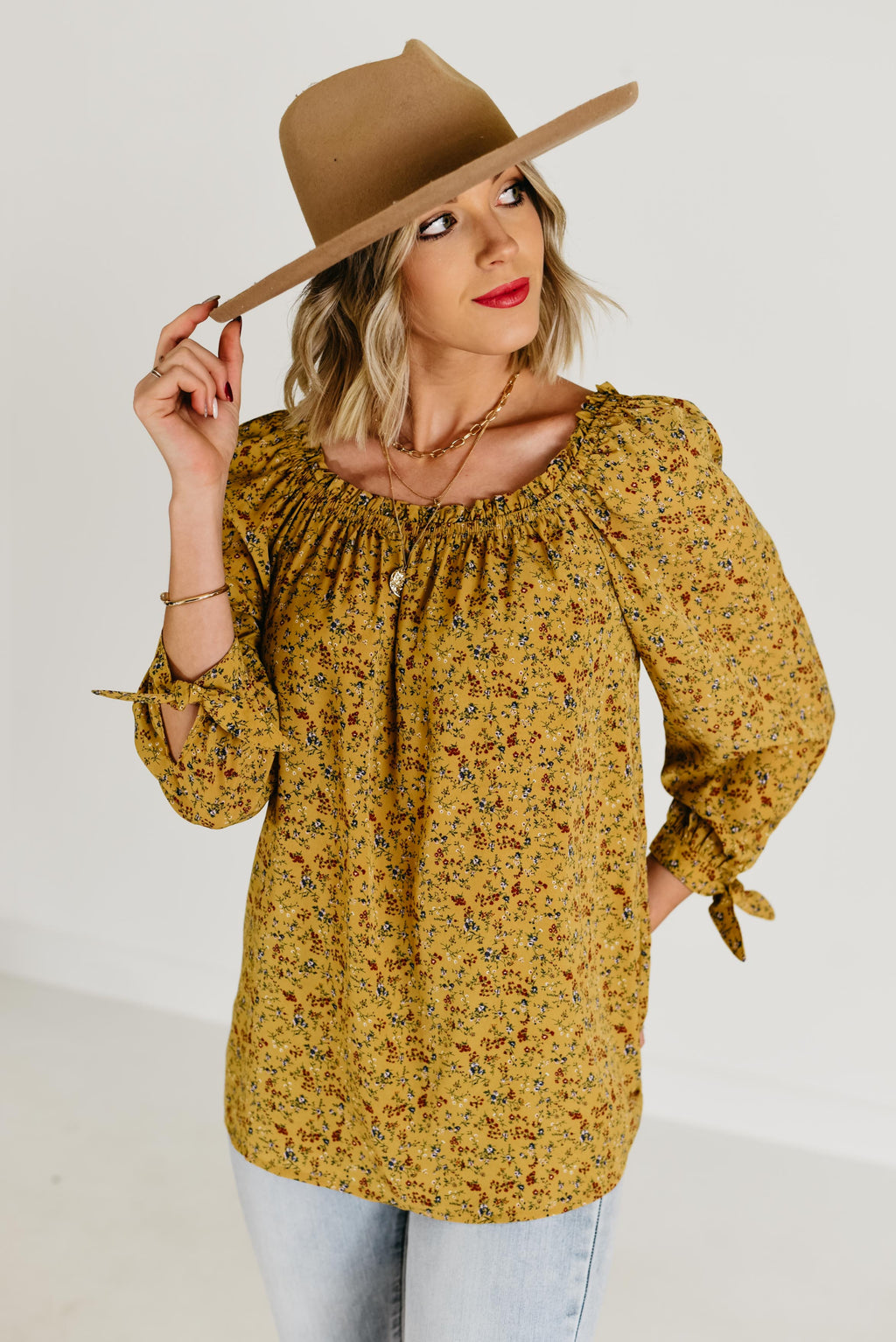 The Asher Floral Blouse - Mustard