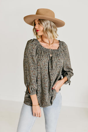 The Asher Floral Blouse - Sage