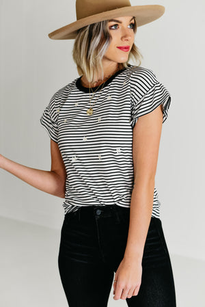 The Candace Embroidered Flutter Tee - Black/Ivory