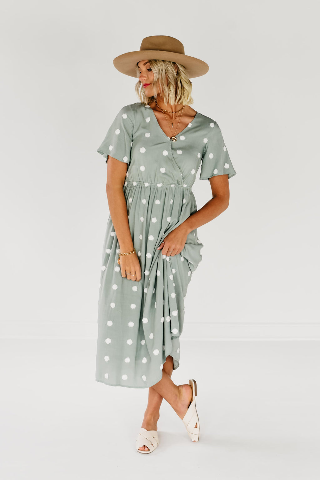 The Cassie Pom Wrap Dress - Ivory Sage