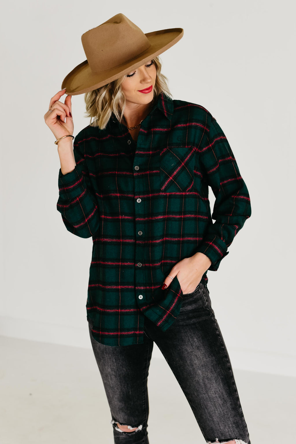 The Ryan Plaid Top - Hunter Green