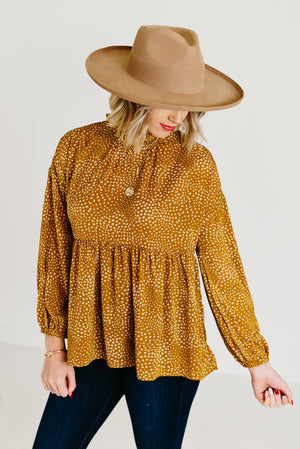 The Sawyer Ruffle Neck Top - Mustard