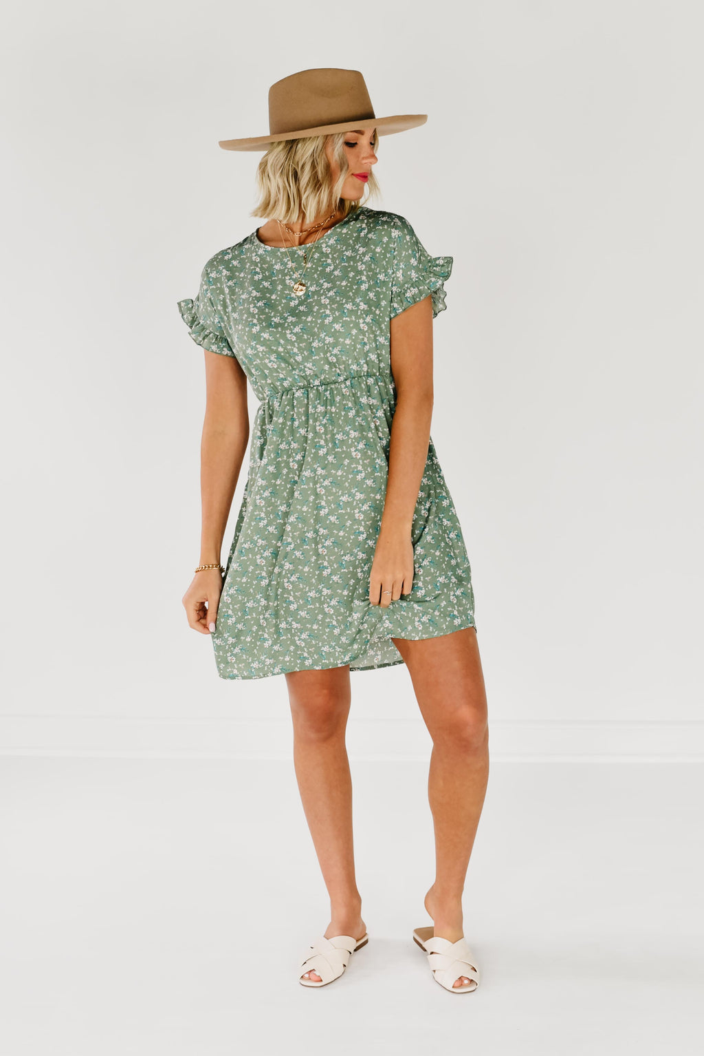 The Londyn Dolman Sleeve Dress - Sage