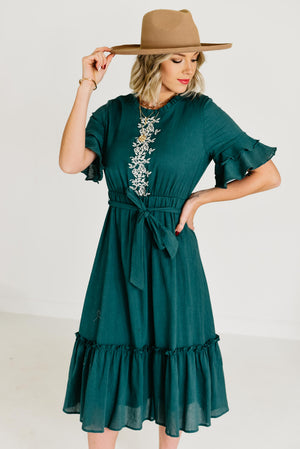 The Tara Embroidered Dress - Teal