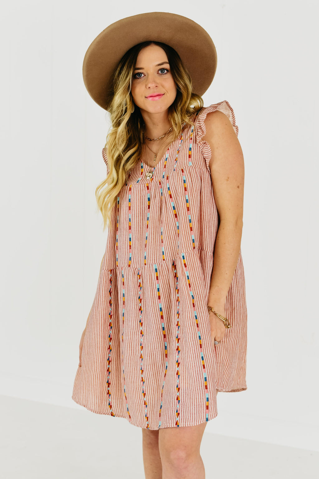 The Sunset Embroidered Dress - Red